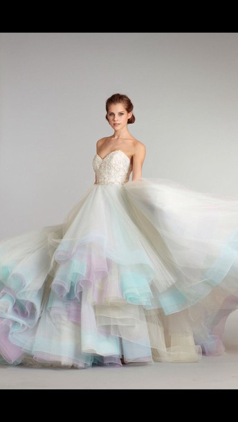 dress ball gown dress gown ombre dress white dress rainbow dress wedding wedding dress white princess wedding dresses ball gown dress colorful