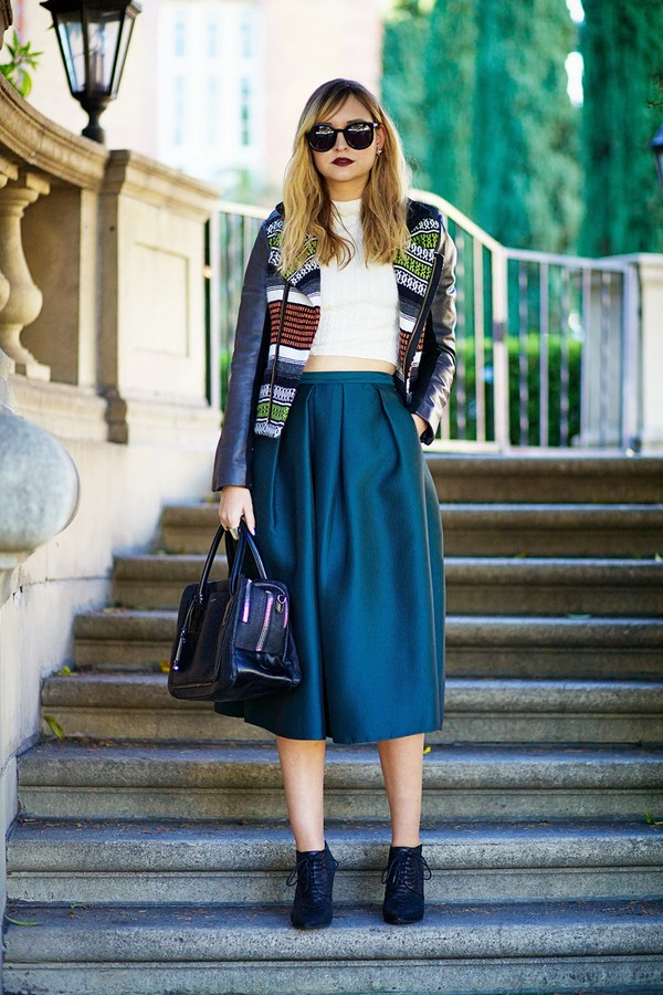 late afternoon skirt t-shirt jacket shoes bag sunglasses jewels