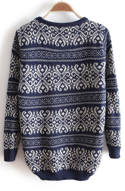 Blue Round Neck Long Sleeve Striped Loose Sweater - Sheinside.com