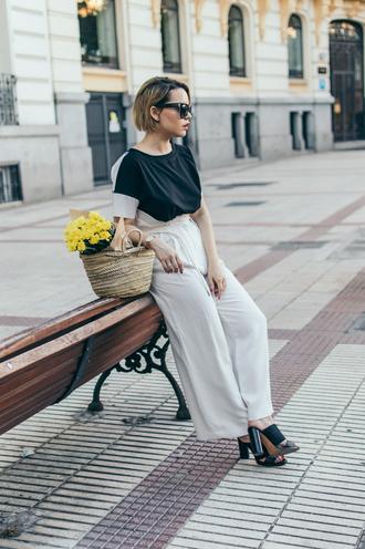 top tumblr black top pants white pants wide-leg pants sandals sandal heels mules bag basket bag sunglasses shoes