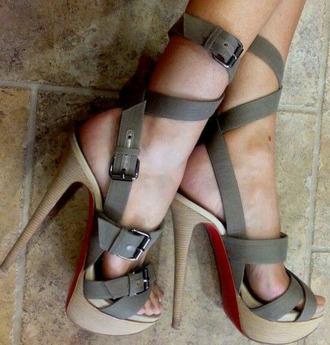 shoes high heels strap warm/earthtone