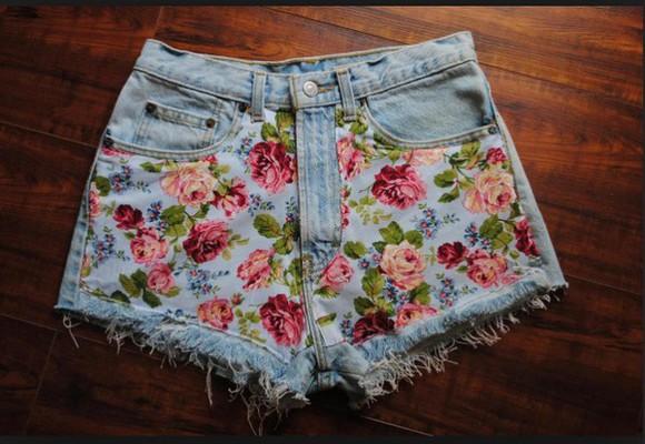 shorts blue pink floral shorts style jeans denim shorts
