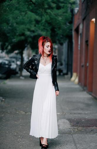 le happy blogger white dress long dress pleated dress black leather jacket cropped jacket