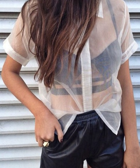 white peter pan collar shirt transparent shirt see through