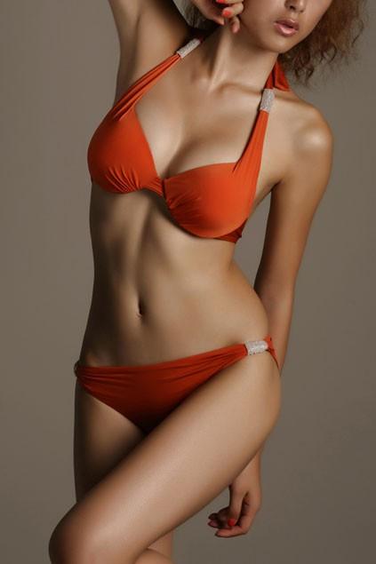 Metal embellished twist halterneck bikini