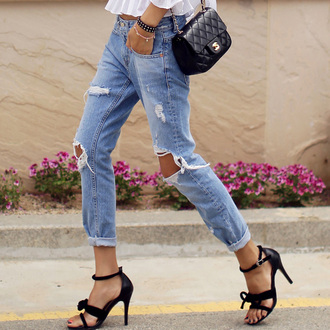shoes heels jeans ripped jeans boyfriend jeans casual outfit cute designer chanel bag purse quilted