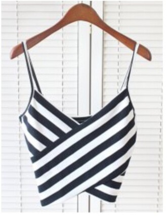 top girly summer trendy cool black and white stripes crop tops trendsgal.com