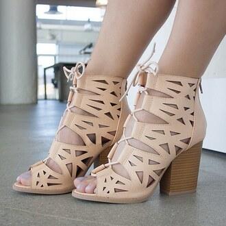 shoes blush pastel booties lace cut-out faux vegan queen gojane
