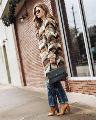 coat tumblr fur coat faux fur coat multicolor patchwork denim jeans blue jeans boots bag black bag sunglasses