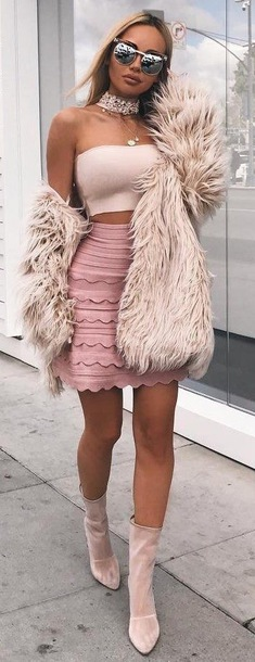 skirt winter outfits fashion winter outfits faux fur faux fur jacket baddie coker tube top nude heels baddies top