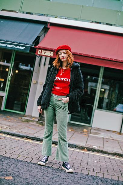 pants tumblr cropped pants corduroy t-shirt red top top jacket black jacket beret hat sneakers black converse