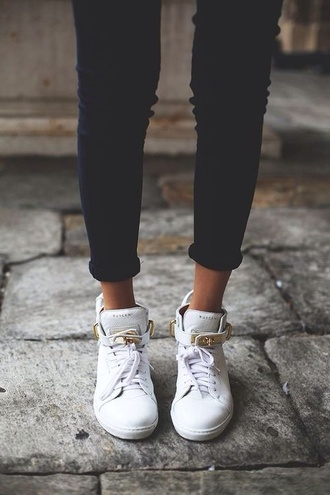 shoes gold high top sneakers white trainers gold details laces luxury