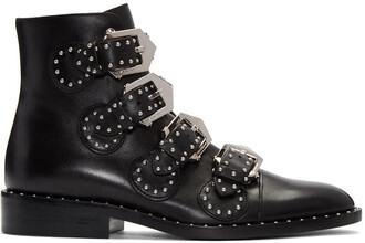 studded boots buckle boots black shoes