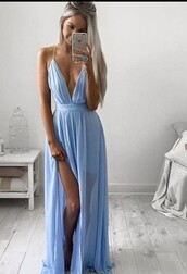 dress,prom dress,open back,blue dress,light blue,v neck,v neck dress,maxi dress,lilac dress,love,please help find,purple dress,blue,long,cute,pretty,summer,prom,beautiful,classy,baby blue,slit dress,side split