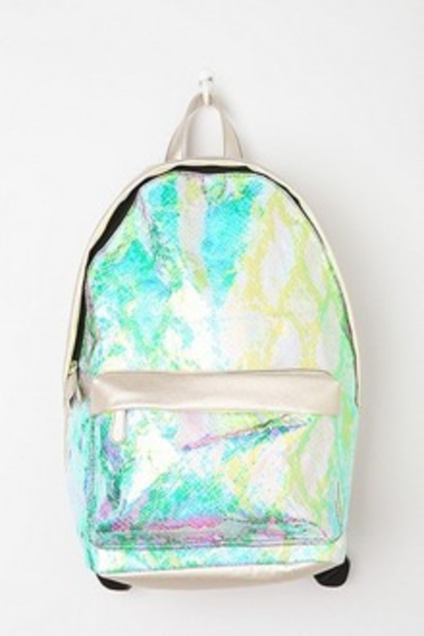 bag holographic backpack iridescent silver
