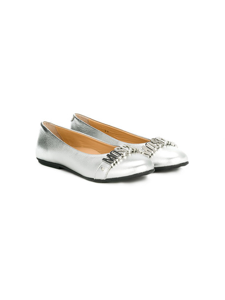 Moschino Kids leather grey shoes