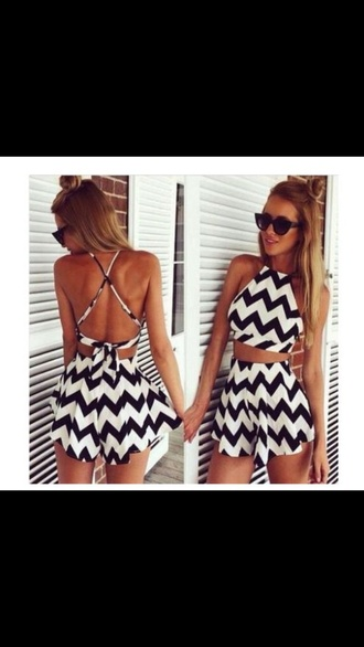 jumpsuit black and white pattern dress summer