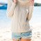 White lapel backless long-sleeved knit sweater