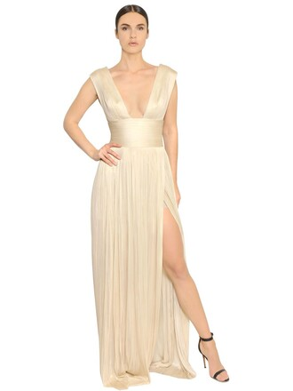 gown pleated metallic silk silver white dress