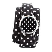 jewels,ziz watch,soft watch,cotton strap,watch,unusual watch,unique watch,designer watch,ziziztime,polka dots,black n white