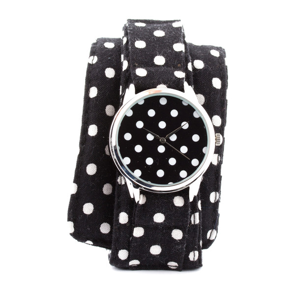 jewels ziz watch soft watch cotton strap watch watch unusual watch unique watch designer watch ziziztime polka dots black n white