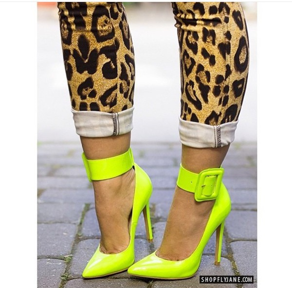shoes cute shoes heels pumps neon neon heels yellow