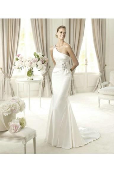 wedding dress bridal gowns oneshoulder dress