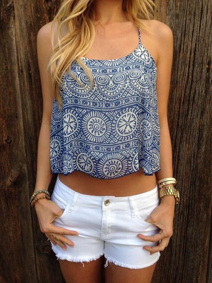 blouse crop tops aztec blue shirt pattern white crop tops