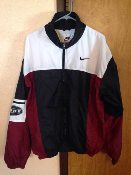 jacket windbreaker burgundy white black