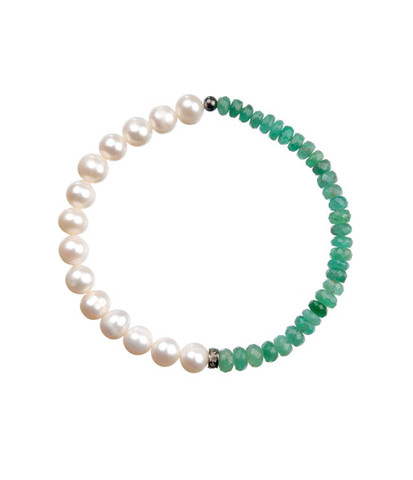 Caratime · pearls emeralds bracelet