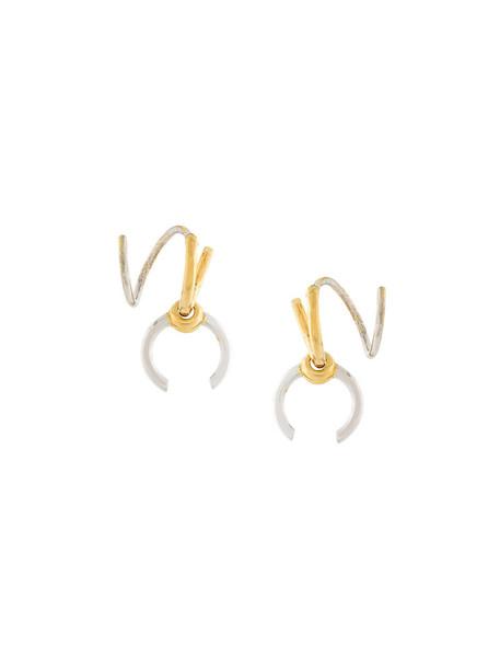 women earrings gold silver grey metallic jewels