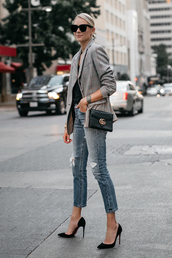fashionjackson,blogger,jacket,top,jeans,bag,sunglasses,shoes,jewels,pumps,high heel pumps,gucci bag,blazer,fall outfits,check blazer,plaid,plaid blazer,denim,blue jeans,black bag,pointed toe pumps,office outfits