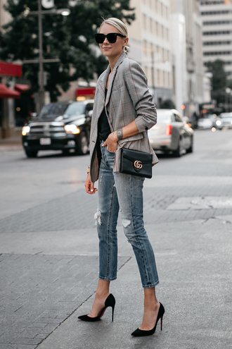 fashionjackson blogger jacket top jeans bag sunglasses shoes jewels pumps high heel pumps gucci bag blazer fall outfits check blazer plaid plaid blazer denim blue jeans black bag pointed toe pumps office outfits