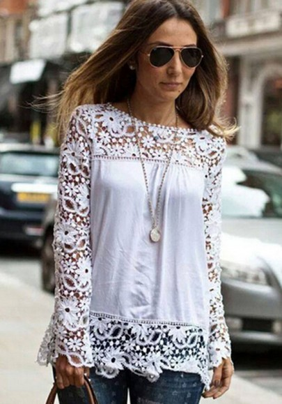 White patchwork lace hollow
