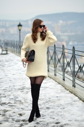 vogue haus,blogger,sweater dress,winter dress,fuzzy sweater,white knit dress,mini knit dress,sunglasses,black sunglasses,cat eye,bag,black bag,tights,over the knee boots,thigh high boots,black boots