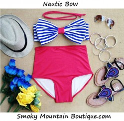 Nautic Bow High Waist Swimsuit - Blue & White Striped Top & Red Bottoms