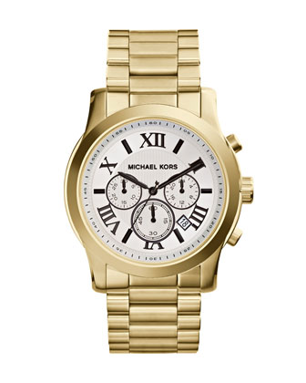 Michael Kors  Oversize Golden Stainless Steel Cooper Chronograph Watch