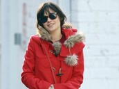 duffle coat,zooey deschanel,red,coat