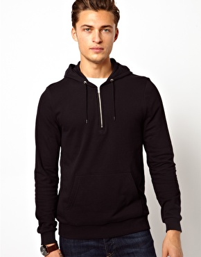 ASOS | ASOS Hoodie With Half Zip at ASOS