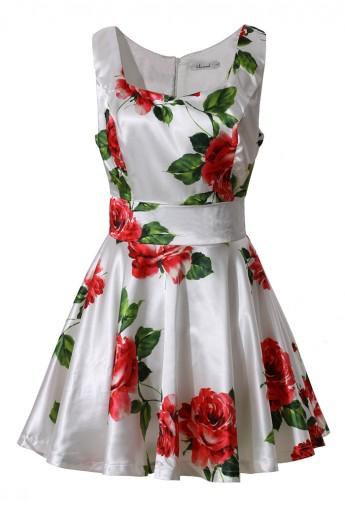 e89a72995f Red Rose Print Skater Dress - Retro