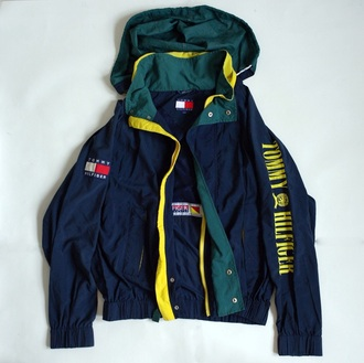 jacket blue green yellow tommy hilfiger jacket windbreaker sports jacket sportswear tommy hilfiger style fashion vintage raincoat cute pretty black white gold nike running shoes retro timmy hilfiger windrunner coat rain jacket vert jaune capuche navy blue jacket yellow jacket