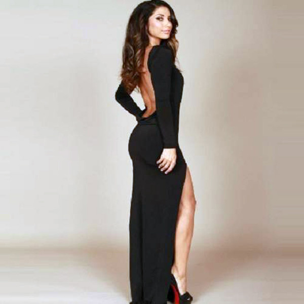 dress long dress bodycon dress black backless dress