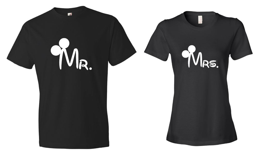 Mr Mrs Mickey Minnie Mouse Couple Matching Black Tshirt Tee Couple Set Disney | eBay