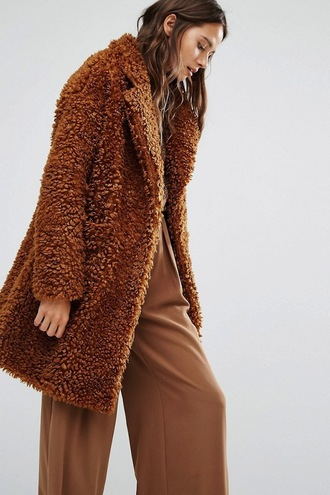 le fashion image blogger coat sweater pants fur coat brown coat wide-leg pants
