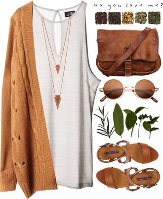 bag brown bag brown cardigan white oversized cardigan knitted cardigan brown shoulder bag shades vintage shades sandals sweater jacket