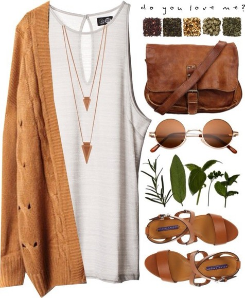 bag sweater white brown bag jacket brown cardigan oversized cardigan knitted cardigan brown shoulder bag shades vintage shades sandals