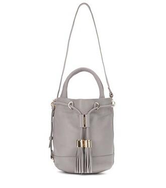 bag bucket bag leather grey