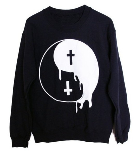 ying yang black white sweater cross yang crewneck pullover