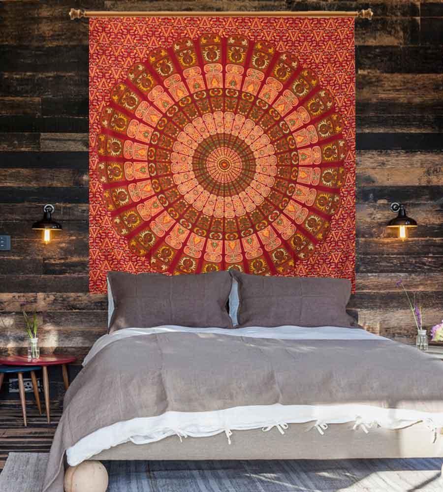 Brown color printed mandala wall hanging tapestry