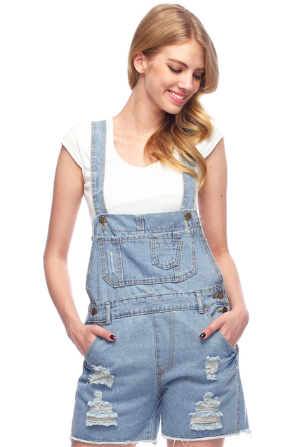 ROMWE | Ripped Pocketed Light-blue Denim Jumpsuit, The Latest Street Fashion